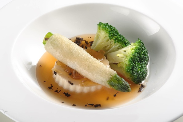 Stewed Bamboo Fungus Rolls filled with Asparagus, Black Truffle and Bean Curd