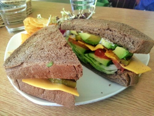 Peace Square pumpkin avocado sandwich