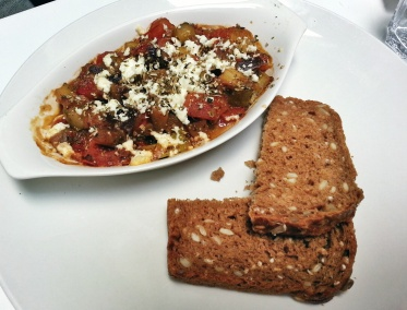 Ratatouille with goat's cheese and gluten-free bread